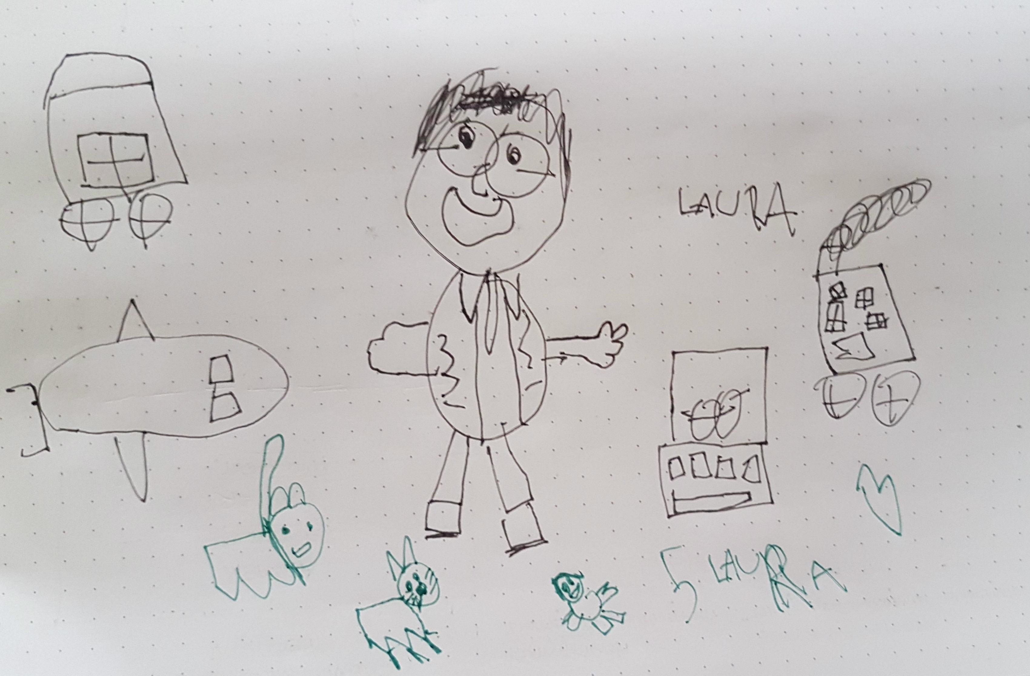 """Caricatura de mi hija Laura (con 5 años) de su padre en """"modo trabajo"""""""
